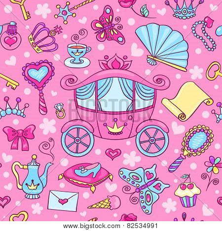 Seamless Pattern With Cute Carriage