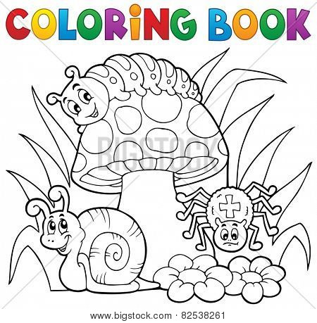 Coloring book toadstool with animals - eps10 vector illustration.