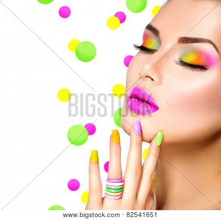 Beauty Girl Portrait with Colorful Makeup, Nail polish and ring Accessories. Colourful eyeshadows make-up. Studio Shot of Stylish Woman. Vivid Colors. Manicure, eyeshadow Rainbow Colours  poster