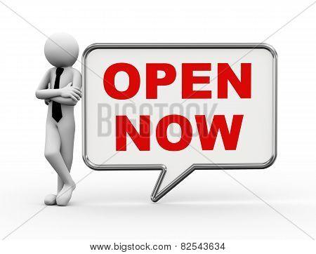 3D Businessman With Speech Bubble - Now Open
