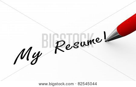 3D Pen Writing My Resume Illustration