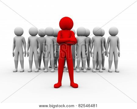 3D Successful Red Man Team Leader Illustration