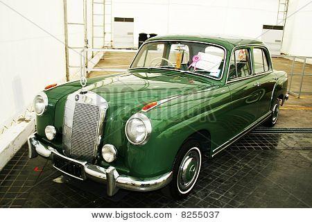Vintage car on display in Bangkok, Thailand.