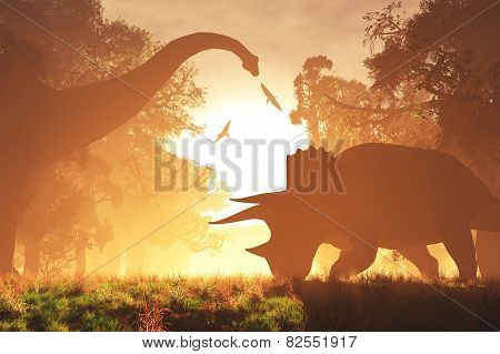 Dinosaurs in Prehistoric Jungle in the Sunset Sunrise