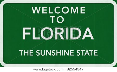 Florida USA Welcome to Highway Road Sign