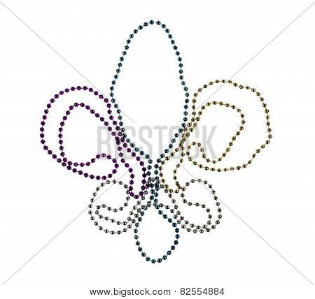 Shiny Gold, Purple, Blue And Silver Mardi Gras Beads On White Background.fleur D'lys. Symbol Of New