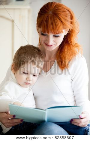 Mom And Kid Reading Book