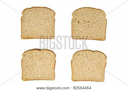Four Slices Wheat Bread Top View