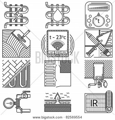 Set of black vector icons for heated floor