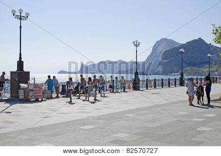 Promenade In Sudak In The Crimea