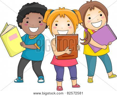 Illustration of Smiling Kids Carrying Thick Books