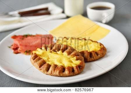 Finnish breakfast with Karelian pasties, salt salmon, and sliced cheese poster
