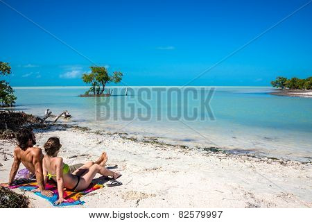 Young Couple In Love At Holbox Island, Mexico. Traveling America, Quintana Roo.