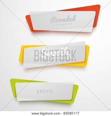 Vector set of translucent plastic banners with rounded corners. Smooth materials.