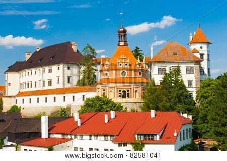 Beautiful renaissance era castle with Roundel pavilion in Jindrichuv Hradec was built in 16th century and is located on the hill near the river Nezarka. Czech Republic