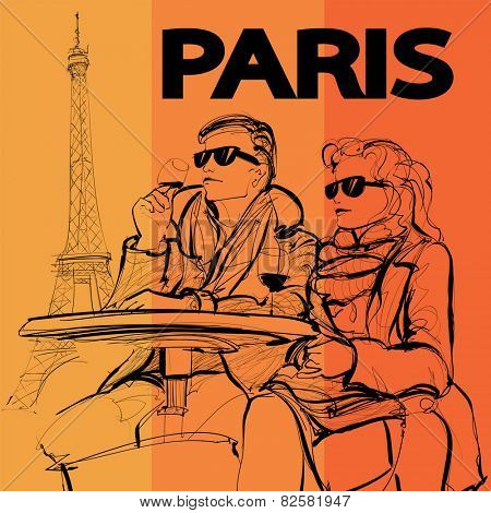 Couple drinking a glass of wine near the Eiffel tower in Paris - Vector illustration