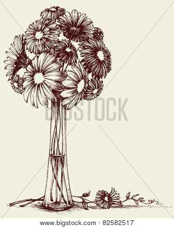 Vase of flowers, wedding bouquet sketch retro style
