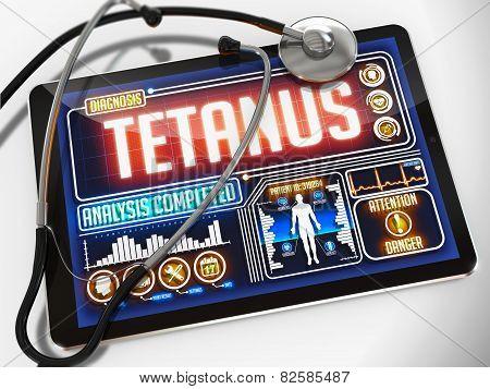 Tetanus on the Display of Medical Tablet.