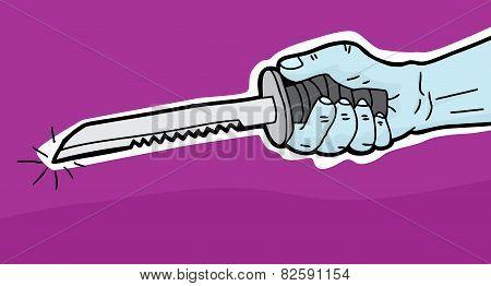 Hand Holding Dagger Over Purple