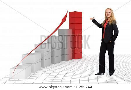 Business Woman - Growth And Success 3D Graph