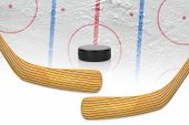 Two hockey sticks puck and hockey field. Concept hockey poster