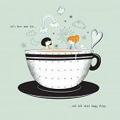 Let's Have Tea - Cute stick-figure girlfriends having tea out of enormous teacup and talking about happy things. Hand drawn illustrations with doodles and inspirational quote poster
