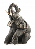 Elephant wooden sculpture on the white background poster