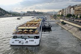 Cruise Ships On The Danube In The Budapest.