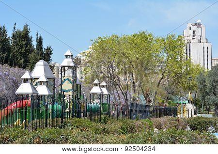 Gan Hapaamon park in Jerusalem Israel. It is one of Jerusalem's best kids parks.