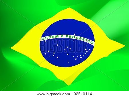 Abstract Brazil Flag In The Wind