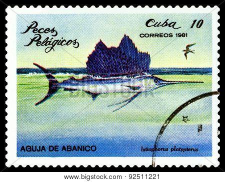 Vintage  Postage Stamp. Istiophorus Platypterus.