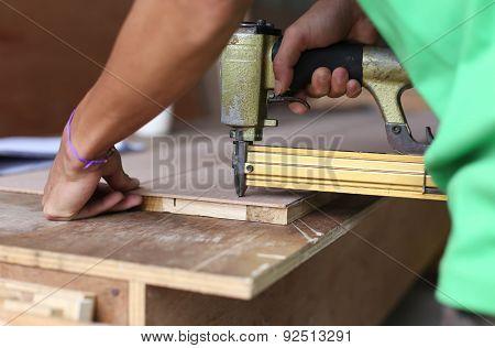 Carpenter Used A Nail Gun