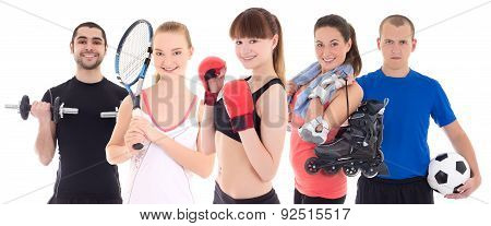 Sport Concept - Bodybuilder, Female Tennis Player, Woman In Boxer Gloves, Roller And Soccer Player I
