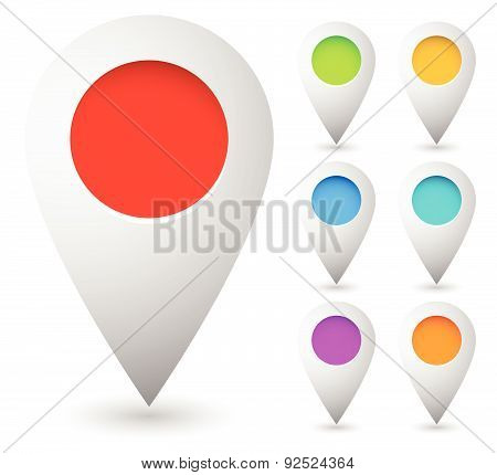 Map marker map pin vector. Map markers with circles with blank space. 7 colors. Vector graphics. poster