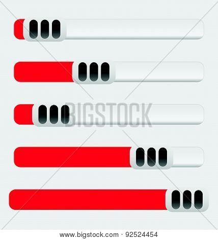 Horizontal Sliders, Adjusters Set At Equal Spaces. Vector.