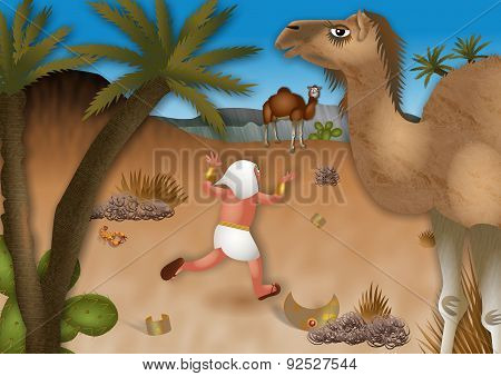 Moses Flees into the Desert