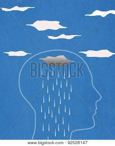 Head Silhouette  And Rain  Digital Illustration