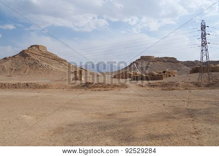 View to the Zoroastrian Towers of Silence in Yazd, Iran.