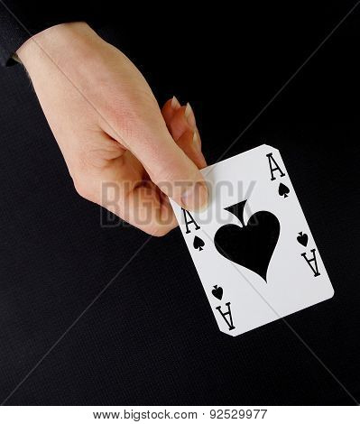 Croupier Player Holding Card Ace Of Spades