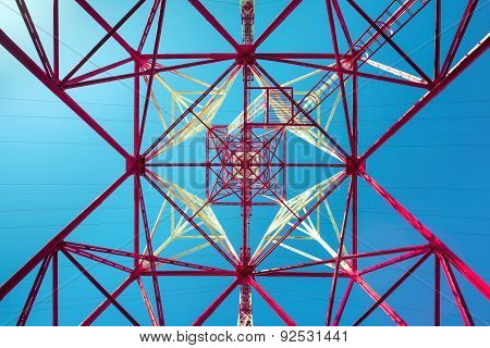 high voltage post. High-voltage tower sky background. poster