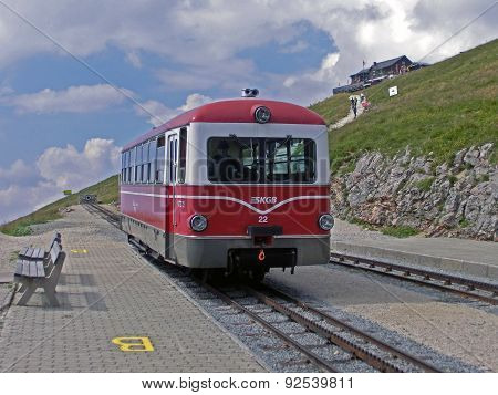 Schafberg, Austria - August 10, 2012: Mountain railway station on top of the Schafberg in Austria close to St. Wolfgang