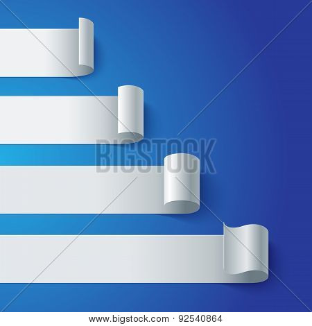 Curled blank paper stripe banners chart on blue background