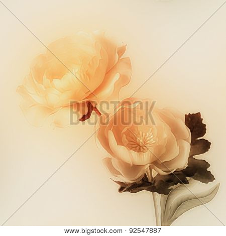 art vintage watercolor blurred floral pattern with golden peonies isolated on light gold background with space for text