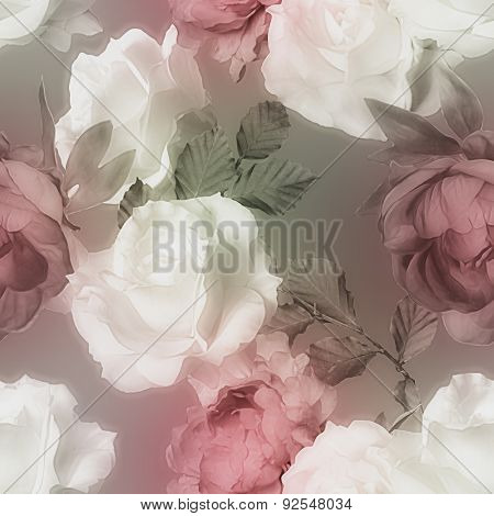 art vintage watercolor blurred floral seamless pattern with white roses and red peonies on grey background
