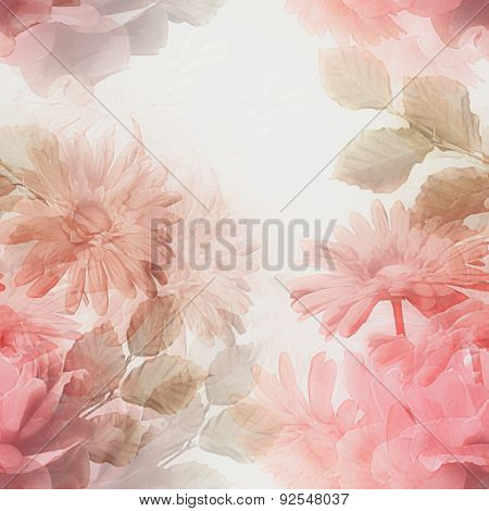 art monochrome vintage watercolor blurred floral seamless pattern with red and white roses and gerberas isolated on white background. Double Exposure effect