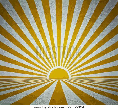 old grunge room with retro sun rays, vintage background, vector