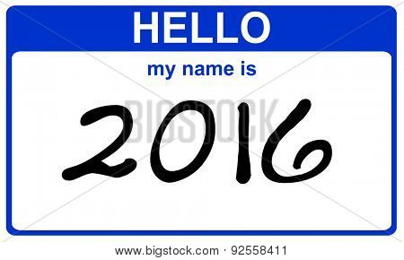 hello my name is 2016 blue sticker