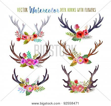 Vector watercolor deer horns with flowers.