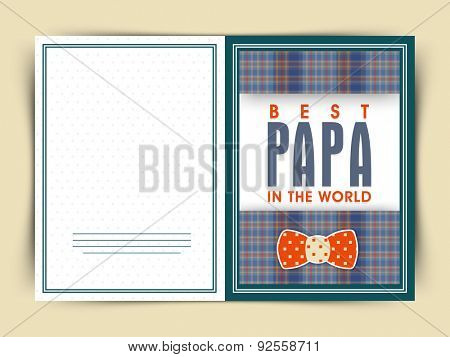 Elegant greeting card design for Best Papa in the World with bow on occasion of Happy Father's Day celebration.