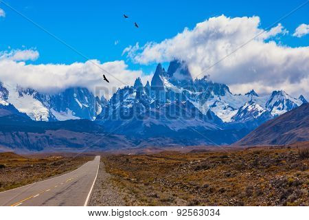 Over the road flying flock of Andean condors. The highway crosses the Patagonia and leads to snow-capped peaks of Mount Fitzroy